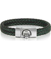 blackbourne designer men's bracelets, black woven leather men's bracelet w/stainless steel skull