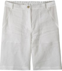 comfortabele linnen bermuda met deels elastische tailleband, wit 36