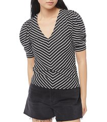 frame women's chevron stripe puff-sleeve shirred top - black multi - size xxs