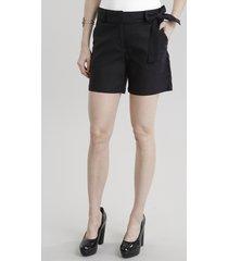 short feminino reto em linho e amarração preto