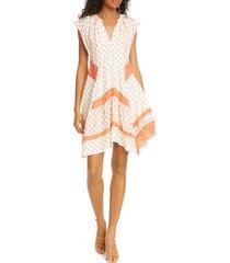 women's rebecca taylor mixed print handkerchief hem silk dress
