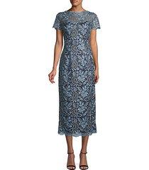 metallic scroll-embroidered dress