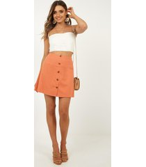 showpo how about it skirt in tangerine linen look - 8 (s) skirts