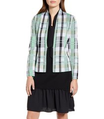 women's ming wang plaid jacquard knit jacket