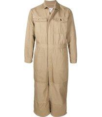 doublet cropped-leg boiler suit - neutrals