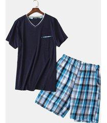 set pigiama da notte da uomo in cotone sciolto a maniche corte semplice casual da uomo