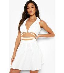 geplooide wikkel blazer jurk met uitsnijding, white