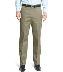 men's berle flat front classic fit wrinkle resistant cotton dress pants, size 42 x unhemmed - green