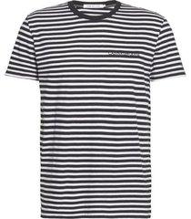 calvin klein t-shirt j30j315253 mini stripe slim bae ck black - zwart