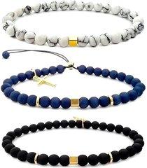 3 pulseiras gafeno acessórios dourada
