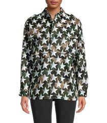 valentino women's star camo cotton twill jacket - camouflage star - size 38 (2)