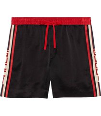 gucci acetate shorts with gucci stripe - black