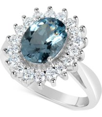 aquamarine (2-1/4 ct. t.w.) and diamond (3/4 ct. t.w.) ring in 14k white gold