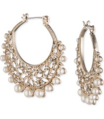 "marchesa gold-tone crystal & imitation pearl 1-2/5"" filigree medium hoop earrings"