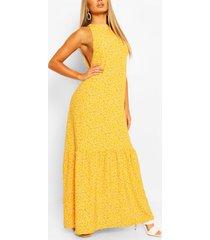 casual maxi-jurk met hoge kraag en gelaagde zoom, mosterd