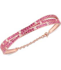 certified ruby (5 ct. t.w.) & white topaz (1/2 ct. t.w.) bracelet in 14k rose gold-plated sterling silver