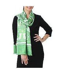 batik rayon scarf, 'bird home in lime' (thailand)
