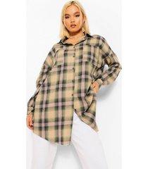 petite geruite oversized blouse, khaki