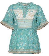 bohemic s/l blouse blouses short-sleeved blauw odd molly