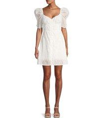 4si3nna women's avery eyelet puff-sleeve dress - white - size s