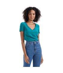 t- shirt malha com seda decote v verde esmeralda - p
