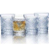 mikasa ballard braid double old fashioned glasses, set of 4