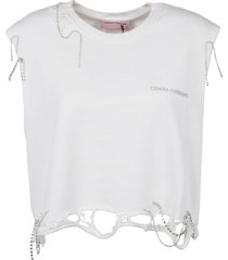 chiara ferragni destroyed sleeve less crop t-shirt