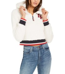 tommy jeans fuzzy hooded pull-on jacket