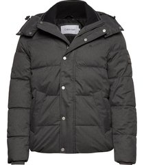 quilted wool optic hooded jacket gevoerd jack grijs calvin klein