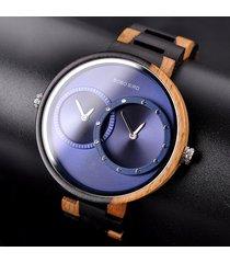 orologi al quarzo da uomo in legno con cinturino in pelle