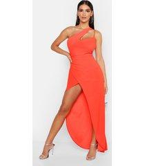 one shoulder maxi dress, orange