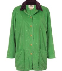 hermès pre-owned all-over quilt textured collar jacket - green