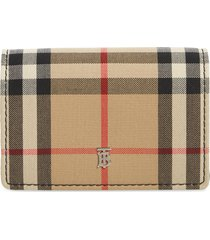 women's burberry vintage check card case with detachable strap - beige