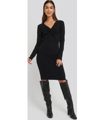 na-kd party front knot long sleeve dress - black