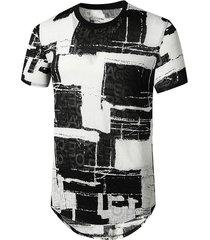 letter pattern block semi sheer longline curved t shirt