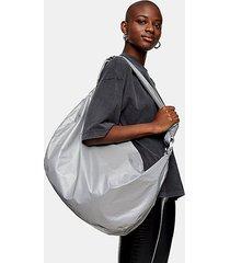 oversized nylon reflective hobo bag - silver