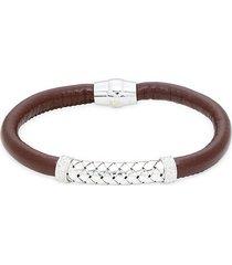 saks fifth avenue men's sterling silver & leather bracelet