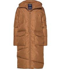 big front pocket long jacket gevoerde lange jas bruin svea