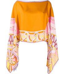 emilio pucci draped cape blouse - orange