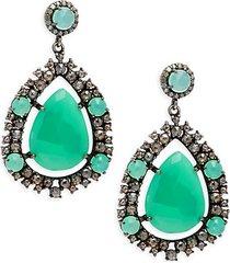 black rhodium-plated sterling silver, chrysoprase & diamond earrings