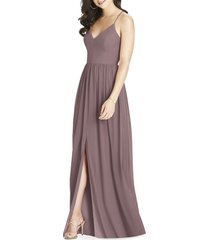 women's dessy collection spaghetti strap chiffon a-line gown, size 6 - brown