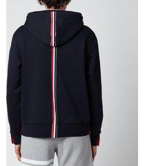 thom browne men's tricolour stripe classic loopback hoodie - navy - 4/xl