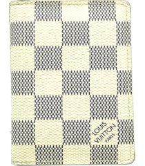 louis vuitton damier azur pocket organizer card case white, blue sz: