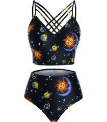 plus size moon and sun planet print strappy tankini swimwear