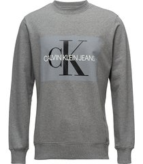 core monogram logo s sweat-shirt trui grijs calvin klein jeans
