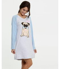 camisola estampa cachorro manga longa marisa - 10039268204 feminina