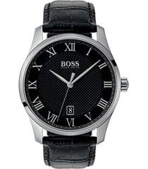 boss hugo boss men's master black leather strap watch 42mm