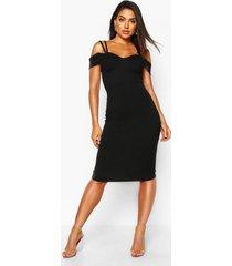 midi jurk met bandjes en uitgesneden schouders, zwart