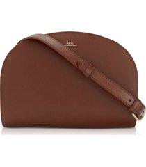 a.p.c. designer handbags, half moon thick leather crossbody bag