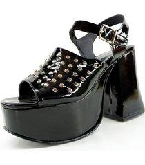 sandalia negra euro confort charol